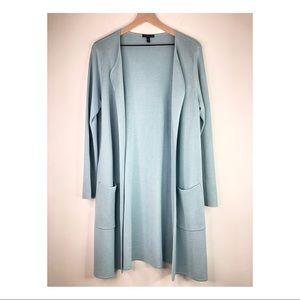 Eileen Fisher Light Blue Open Front Cardigan